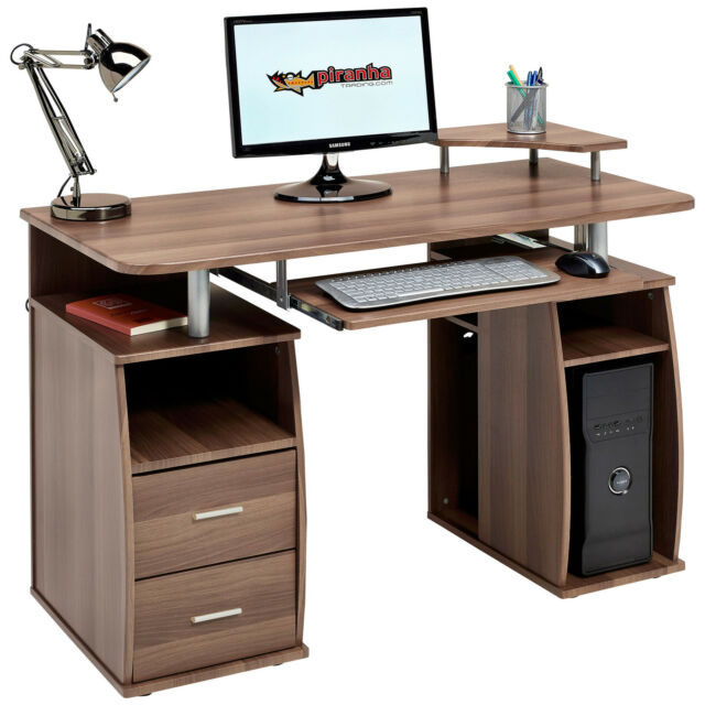 Computer Table With Storage Drawers Piranha Furniture Tetra Walnut Effect Pc5w
