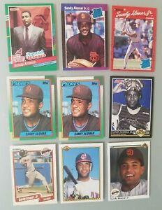 Lot-of-9-Sandy-Alomar-Jr-Baseball-Cards-Topps-Donruss-Bowman-Fleer-Score-Rookie