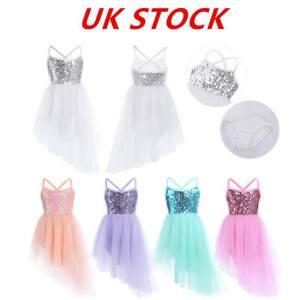 UK-Girls-Ballet-Dress-Sequins-Gym-Latin-Skating-Performance-Tutu-Skirt-Dancewear