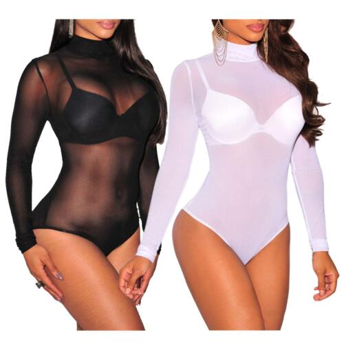 Nouveau Haut Femmes à manches longues Tortue Polo Cou Sheer Maille Justaucorps Body 8-26