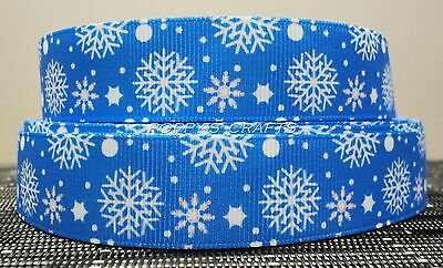 BLUE GROSGRAIN RIBBON / WHITE SNOWFLAKES - 1 YARD - 22mm wide - Crafts