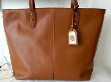 New Lauren Ralph Lauren Leather Studded Teena Tote Shopper Tan Bag Handbag