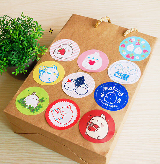 Molang Point Decor Round Sticker Seal 20EA Set Cute Rabbit Decal Gift Wrapping