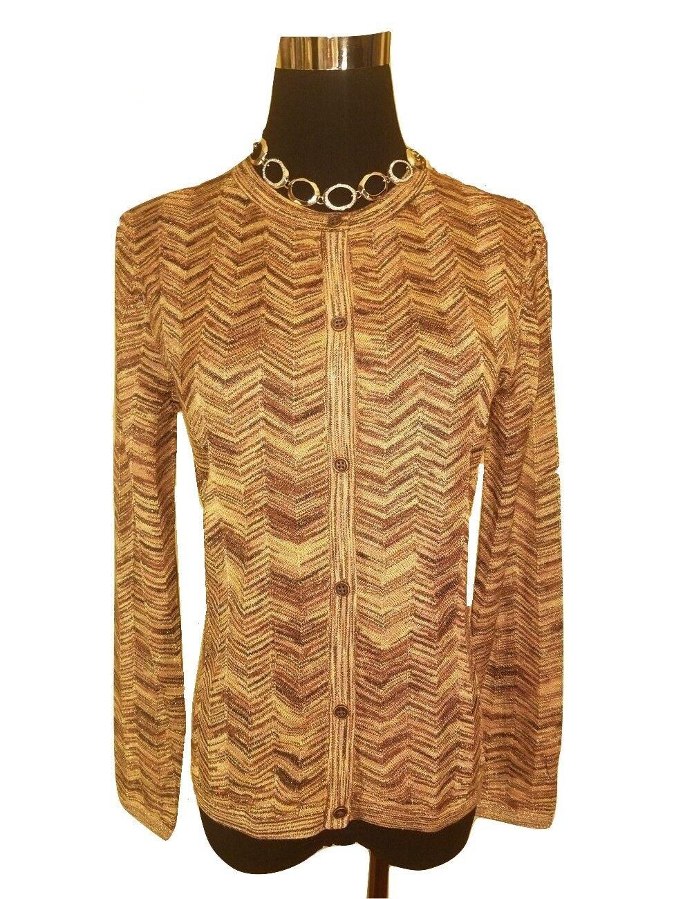 NEW  Missoni Metallic Knit Sweater Cardigan - Elegant gold Chevron