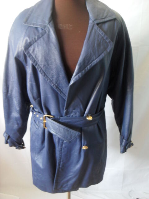 SCARCE! ATLANTIC BEACH Blue Leather DOUBLE BREASTED Trench Coat S VERY RARE