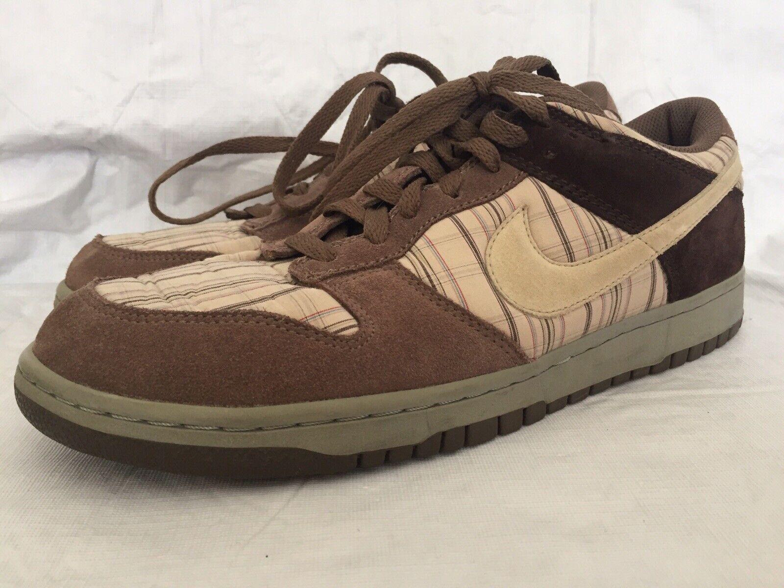 Nike Dunk Low Net Palomino Brown Plaid Men's Size 12 Model 307696 111