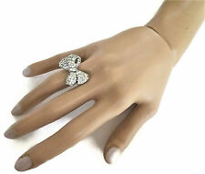 Beautiful Cocktail Ring Crystal Diamante Bow Design Adjustable Size