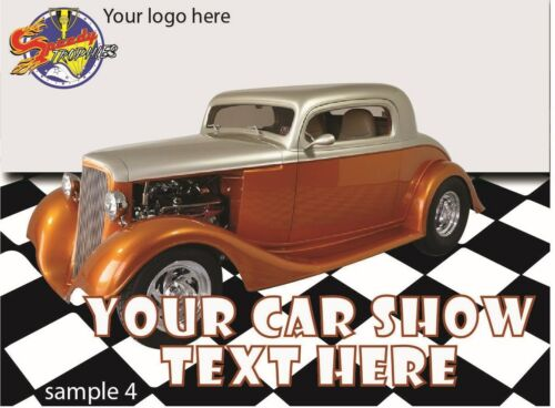 """SHIPS IN 1 BUSINESS DAY FREE SHIPPING! 150 4/""""x3/"""" CUSTOM CAR SHOW DASH PLAQUES"""