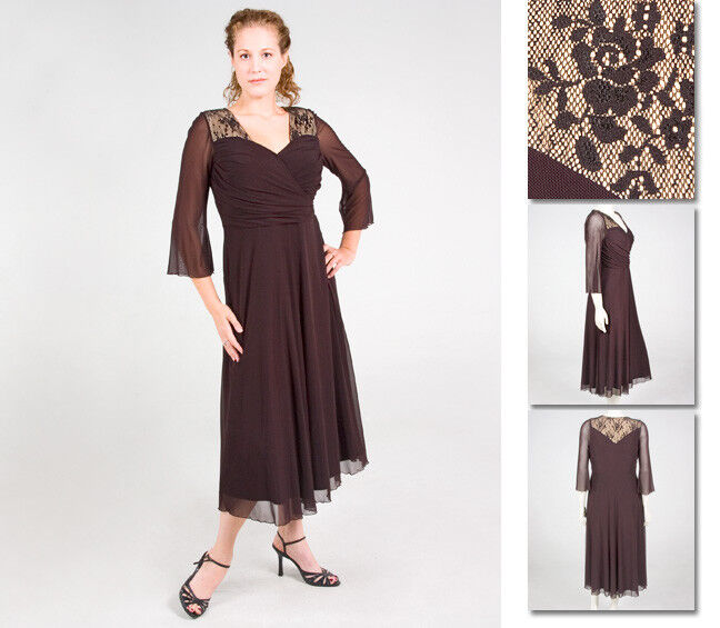 NEW Zaftique AUDREY LACE LACE LACE Dress COFFEE Brown 0Z 1Z 2Z 14 16 20 28   L XL 1X 2X 4X 559da5