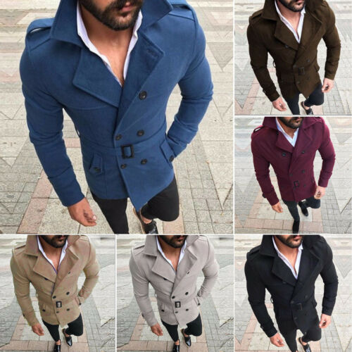 Mens Winter Warm Casual Trench Coat Double-Breasted Pea Coat Jacket Outwear Tops