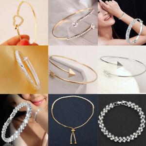Sterling Silver Cuff Bracelet Bangle Chain Wristband Womens Fashion Jewelry Gift