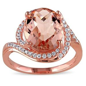 Haylee Jewels Rose Plated Silver Simulated Morganite and Cubic Zirconia Ring