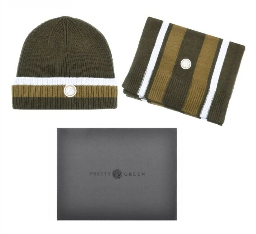Pretty Green Beanie Hat And Scarf Gift Set GreenWith a gift box One Size RRP
