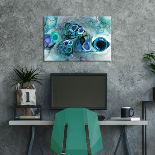 ZAB1505 Blue Teal Black Cool Modern Canvas Abstract Wall Art Picture Prints