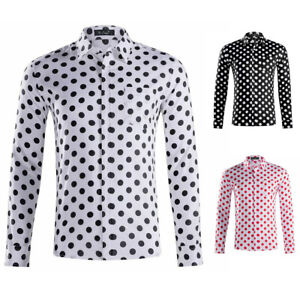 Men-039-s-100-Cotton-Polka-Dots-Long-Sleeve-Slim-Fit-Casual-Formal-Regular-Shirt