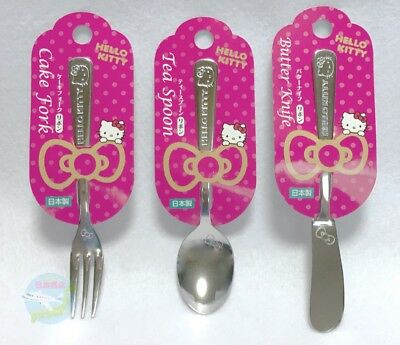 Hello Kitty Sanrio Hello Kitty Kawaii Tea Spoon And Cake Fork,butter Knife Set Made In Japan Animation Characters