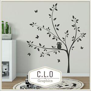 Details About Tree Owl Wall Sticker Vinyl Beautiful Art Transfer Nursery Decor Cute Decal Uk