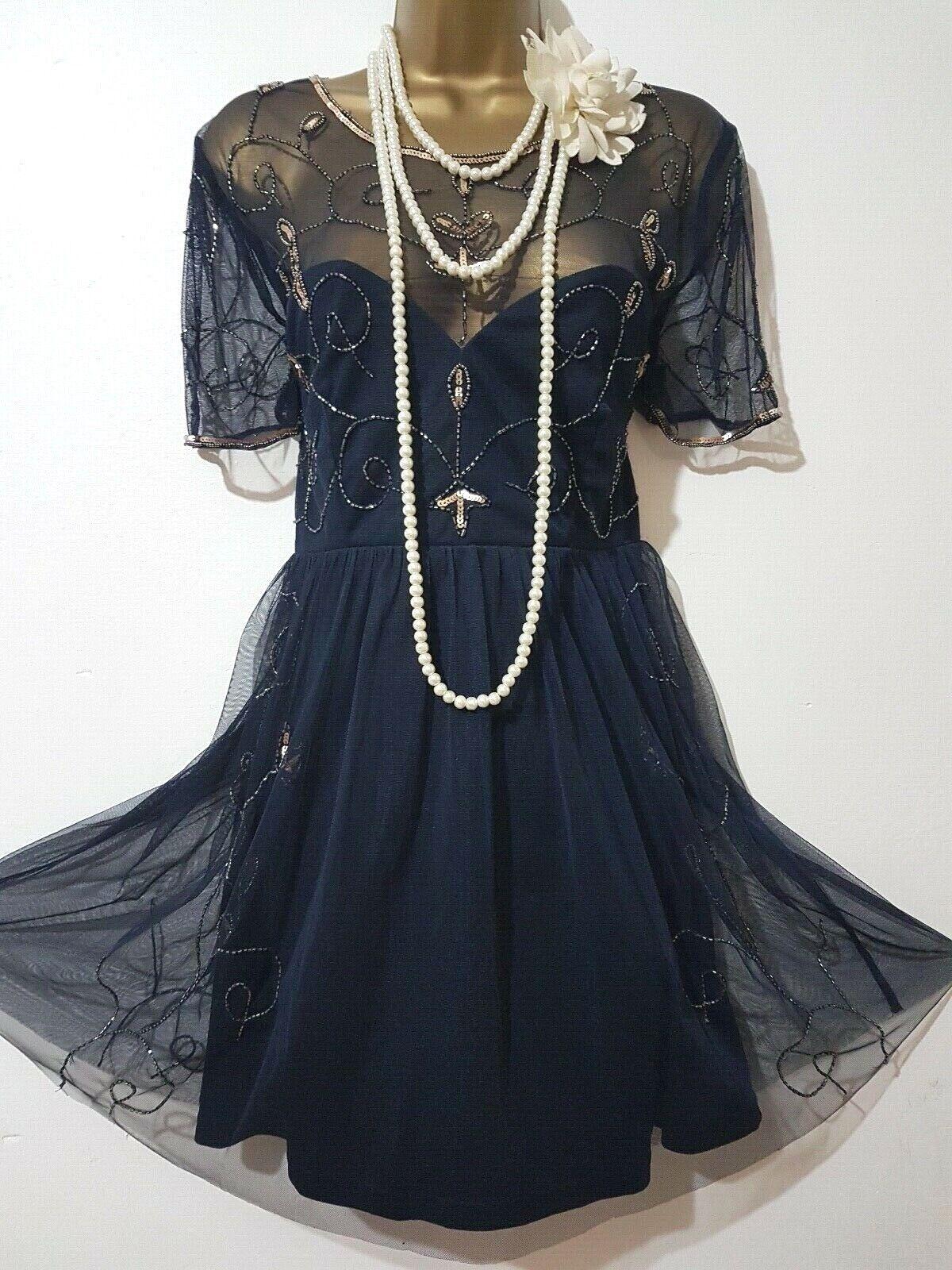 BOOHOO anni'20 Gatsby Flapper Charleston con paillettes e perline Impreziosito Vestito SZ UK8