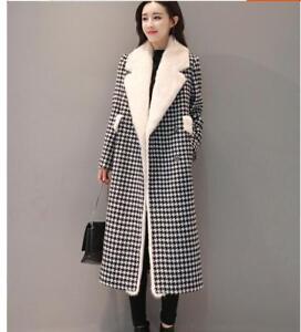 Women-Winter-Wool-Mink-Fur-Warm-Coat-Thick-Lapel-Collar-Long-Trench-Parka-Jacket