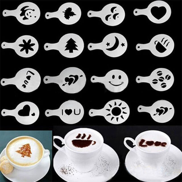16 Different Design Pack Coffee Milk Cake Cupcake Stencil Template Mold