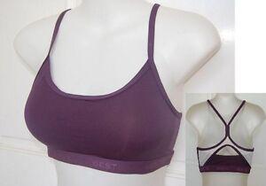 Padded Sports Gym bra crop top Yoga Dance Fitness Womens Purple S M L XL XXL