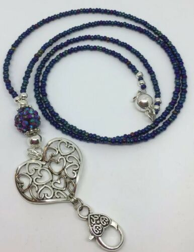 Blue//Purple L4 Beaded Lanyard Extra Long Or Short Made To Measure Lanyard
