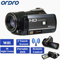 Ordro Lcd Touch Screen 1080p Digital Video Camera 18×zoom 24m App Remote Control