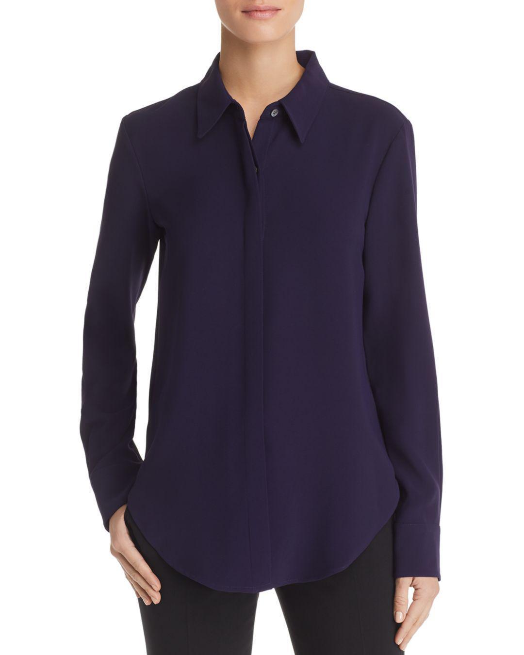NWT Theory Sunaya Crepe Shirt Blouse Storm Navy Größe P(XS), S