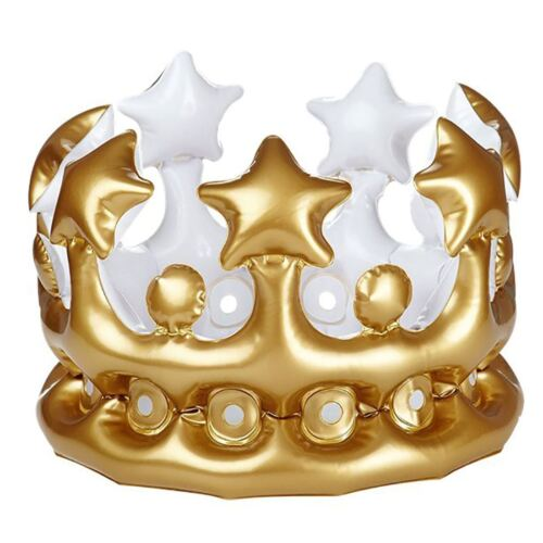 Adults Inflatable Gold King Queen Crown Unisex Fancy Dress Party Wear Accessory