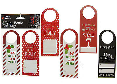 Pack of 8 Handcrafted Wine Bottle Christmas Gift Tags Festive Seasonal Presents