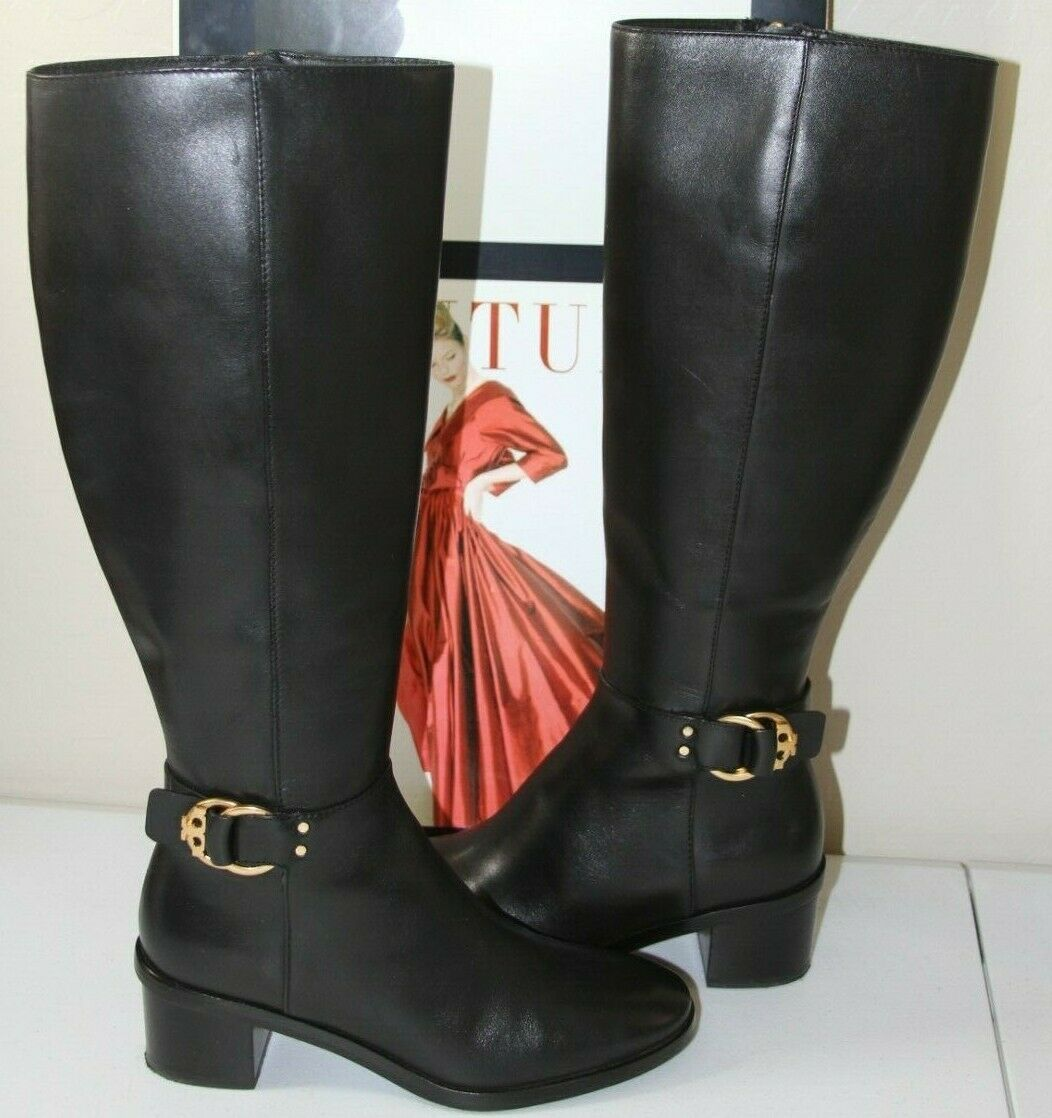 83 Tory Burch Marsden negro cuero rodilla botas