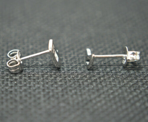 Rhodium Plated Solid 925 Sterling Silver Small Musical Notes Stud Earrings Gift