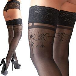 """Sexy Halterlose Strümpfe M L XL 2XL mit Muster schwarz Damen Nylons """"Marika"""" S31"""