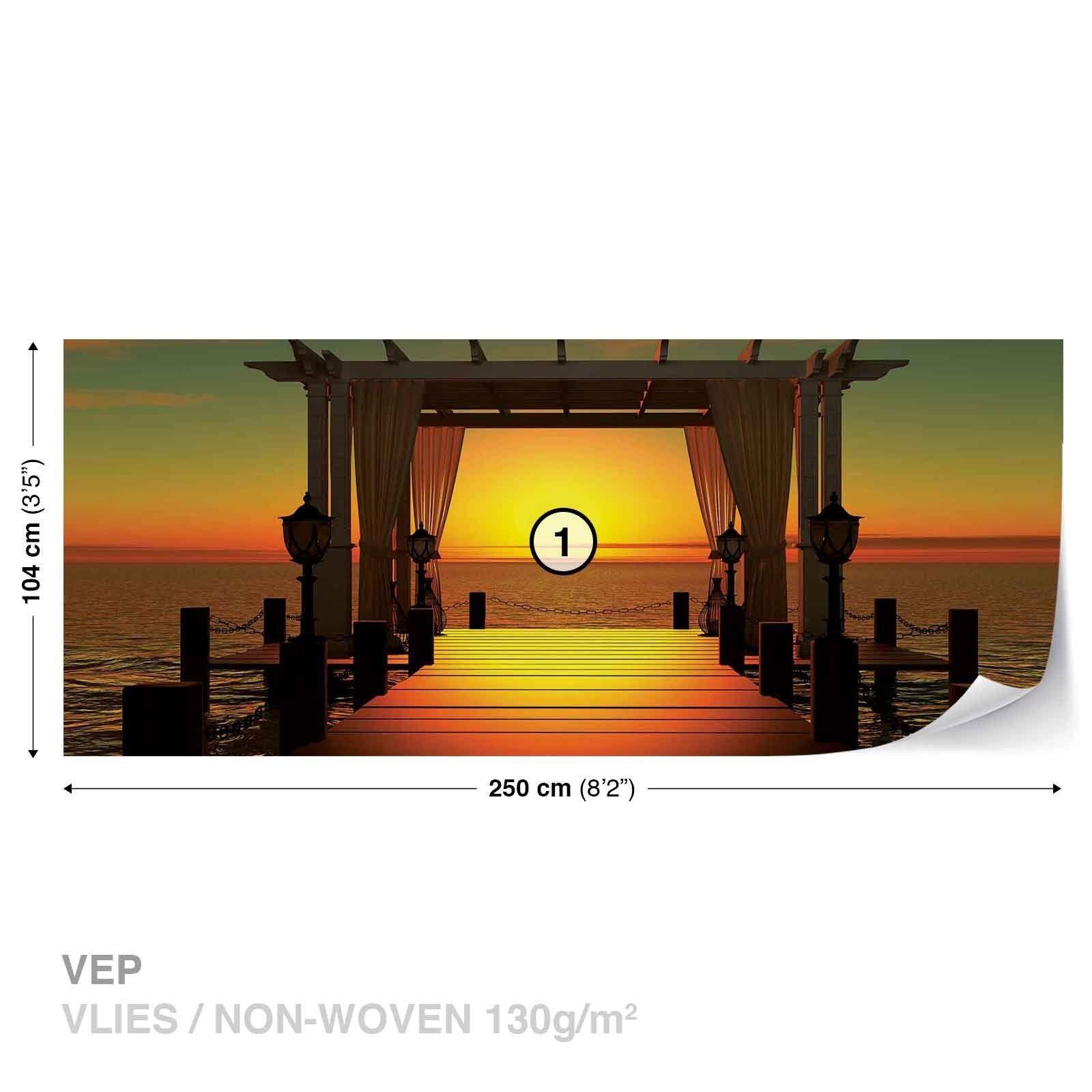 Design Design Design Tapete Vlies Fototapete Natur Landschaft Sonnenuntergang Steg am Meer 51351f