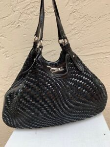 ce990fd7e07a Details about COLE HAAN GENEVIEVE BLACK WEAVE TRIANGLE TOTE BAG