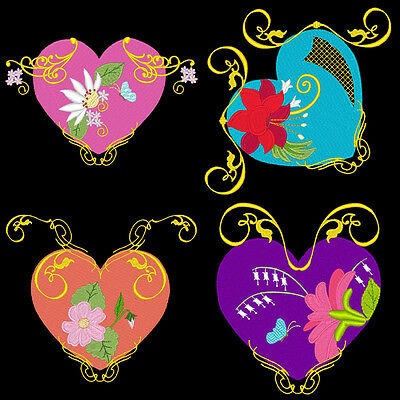ROMANTIC HEARTS & FLOWERS - 36 MACHINE EMBROIDERY DESIGNS (AZEB)