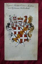 Escudo de armas señores maestro johanniterorden heraldica grabado Weigel Köhler 1736