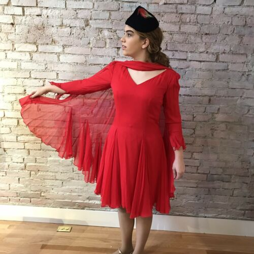 Vintage Travilla Red Silk Chiffon Dress Cocktail … - image 1