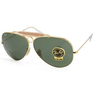 Ray-Ban-RB3138-001-Aviator-Shooter-Gold-Green-Unisex-Sunglasses-Size-58-amp-62