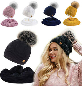 Set-Scarf-Or-Hat-Women-Ladies-Winter-Knitted-Beanie-Hat-Fleece-Pom-Neck-Hats