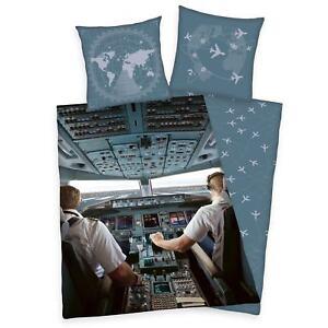Herding-Cockpit-Avion-Pilote-Set-Housse-de-Couette-Simple-100-Coton-Reversible