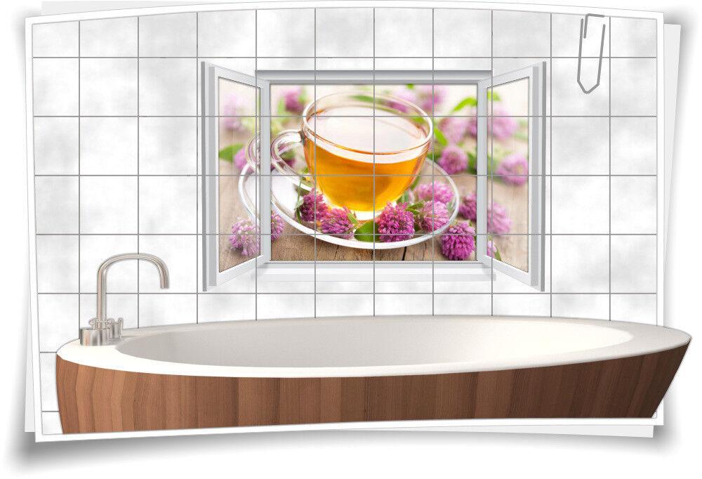 Fliesenaufkleber Fliesenbild Fliesen Aufkleber Tee Teezeit Klee Blüte Bad WC   Qualitativ Hochwertiges Produkt