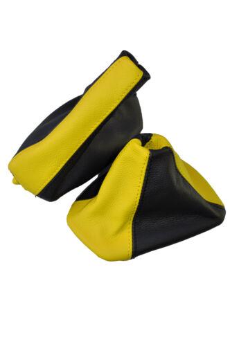 Noir jaune s/' adapte bmw série 3 E36 E46 Gear Frein à Main Guêtres en cuir 2 tons