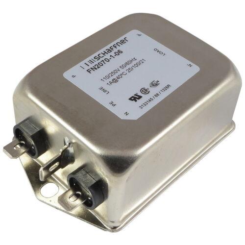 Schaffner fn2070-1-06 filtro de malla 250vac 1a single-fase filtro 2-alturas 856782