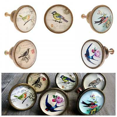 Bird Drawer Knobs, Brass Effect Cupboard Door Handle Pull, Owl, Vintage Style