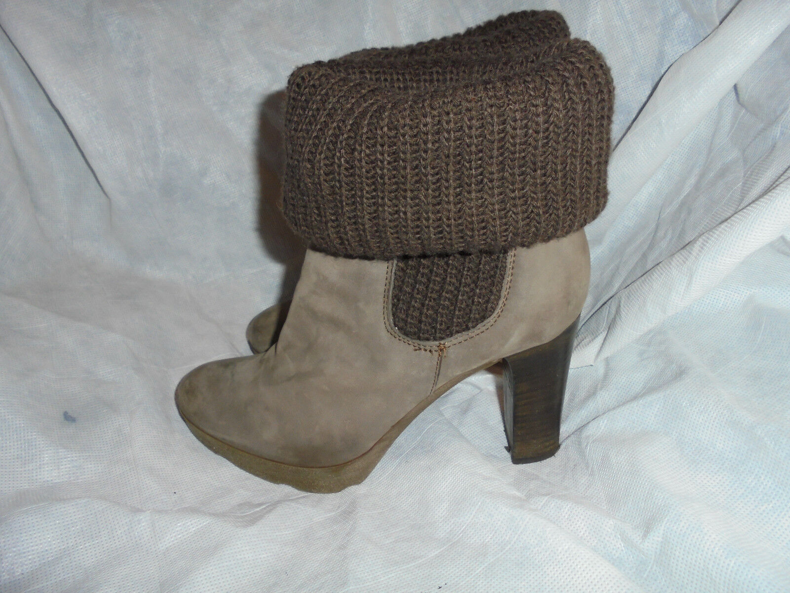 DANIEL WOMEN'S BROWN LEATHER TEXTILE SLIP ON ANKLE BOOT SIZE VGC
