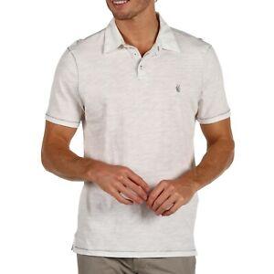 John Varvatos Star USA Men/'s Short Sleeve Peace Sign Polo Slub Shirt Black