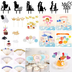 Multi-style-Cake-Toppers-Baby-Shower-Birthday-Party-Wedding-Cupcake-Decor-Supply
