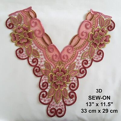 Burgundy Roses Embroidery Rose Flower Venice Neckline Neck Collar Dress Applique
