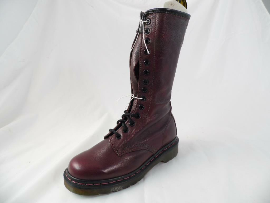 DR MARTENS VB1B99Z ROT ZIP LEATHER 14 EYE SIDE ZIP ROT MOTORCYCLE COMBAT Stiefel UK 3 NOS 916633